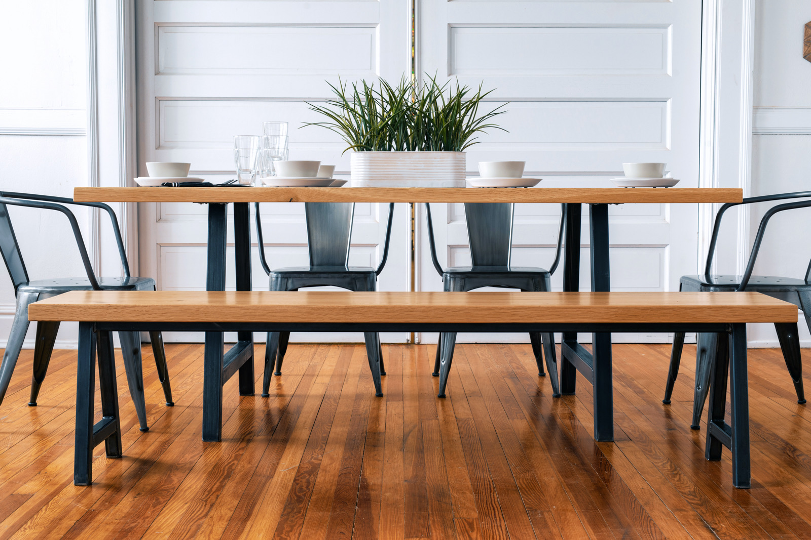 Broadway Table Modern Industrial Dining Room Table And Chairs