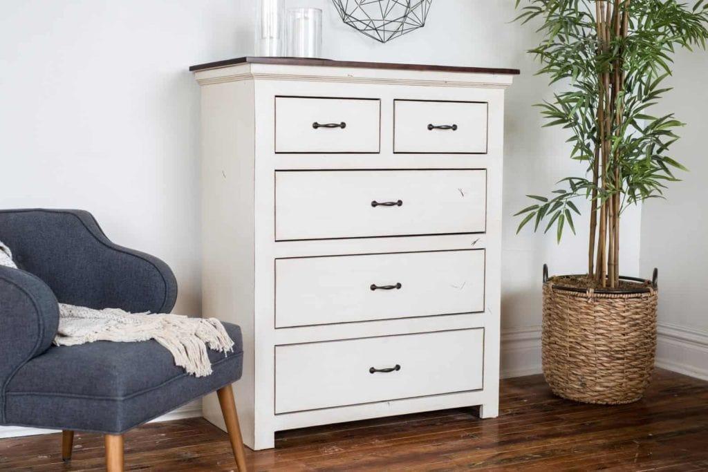 Upright white hardwood Briggs Dresser