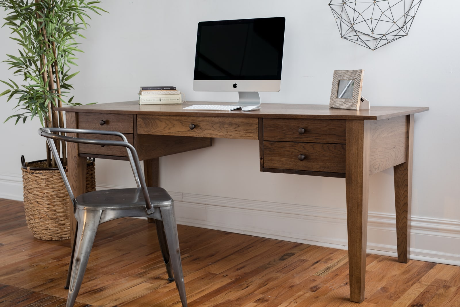 Custom desk and chair in home office