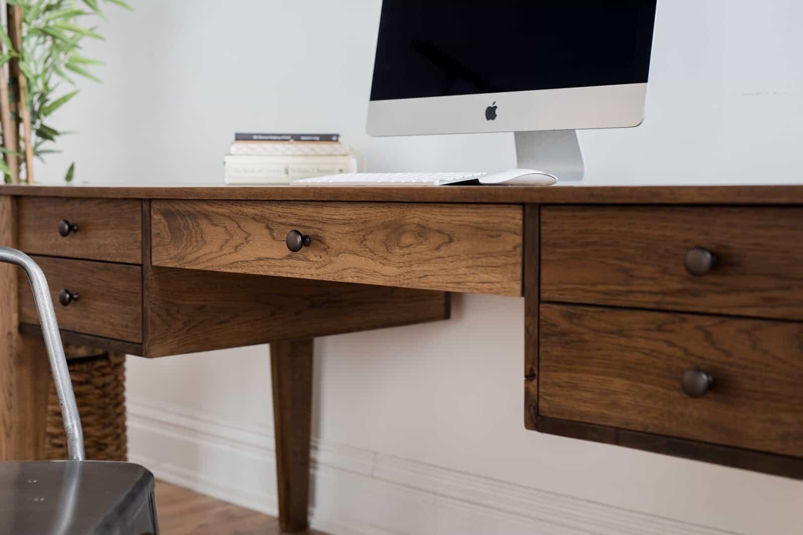 Custom hardwood office desk