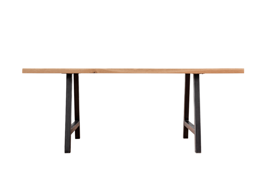 Metal Base and Hardwood Top Table | Table Only