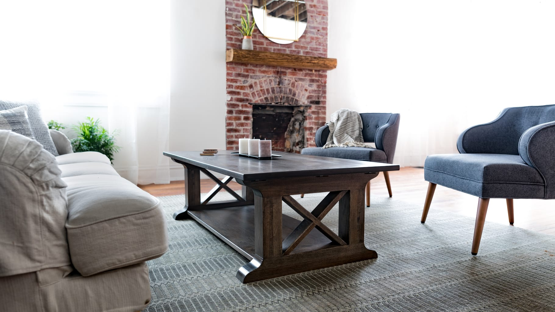 Unruh's Farmhouse Coffee Table is perfect for a Texas living room