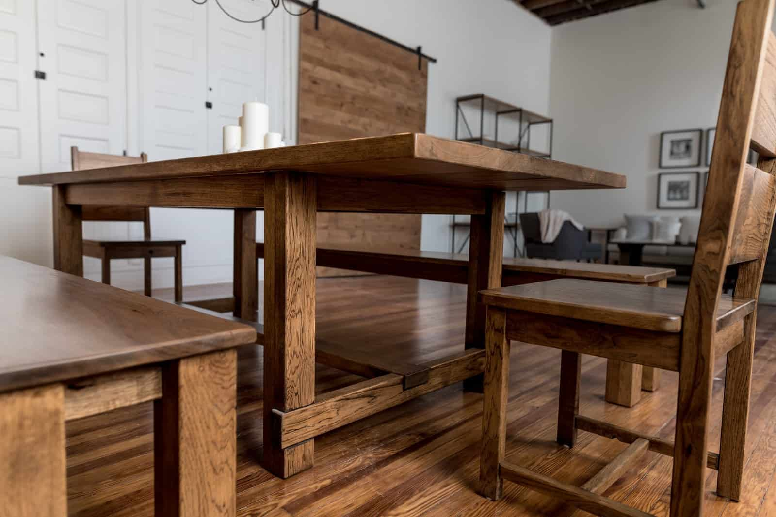 Unruh's custom hardwood Farmhouse Table