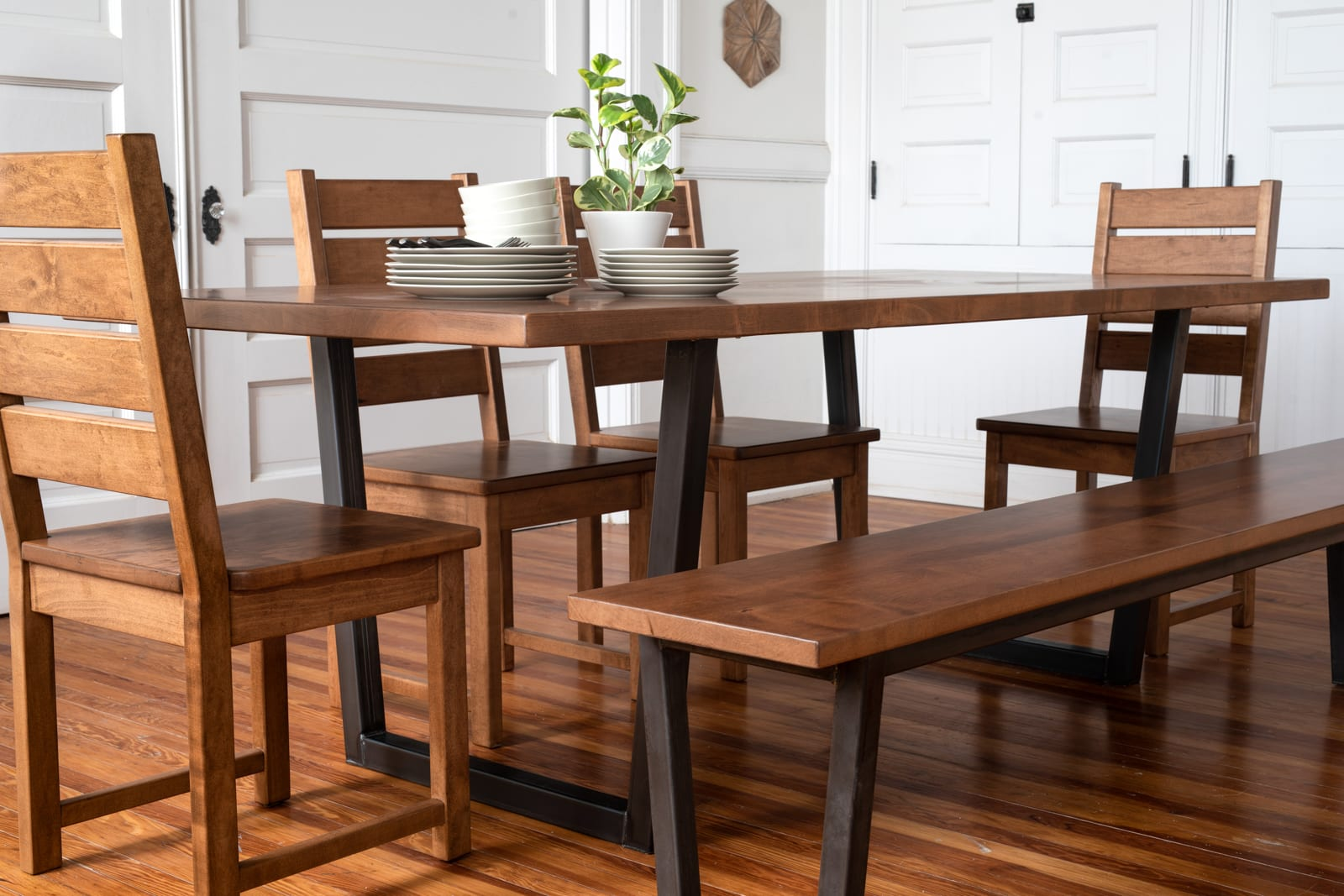 Modern industrial dining table set