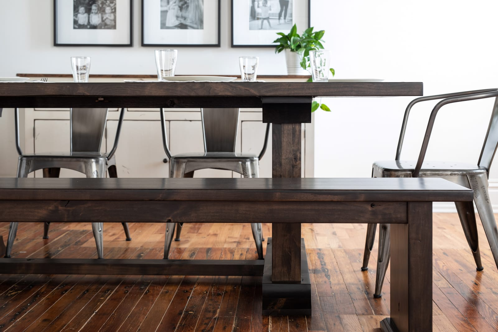 dining table set with bench seating
