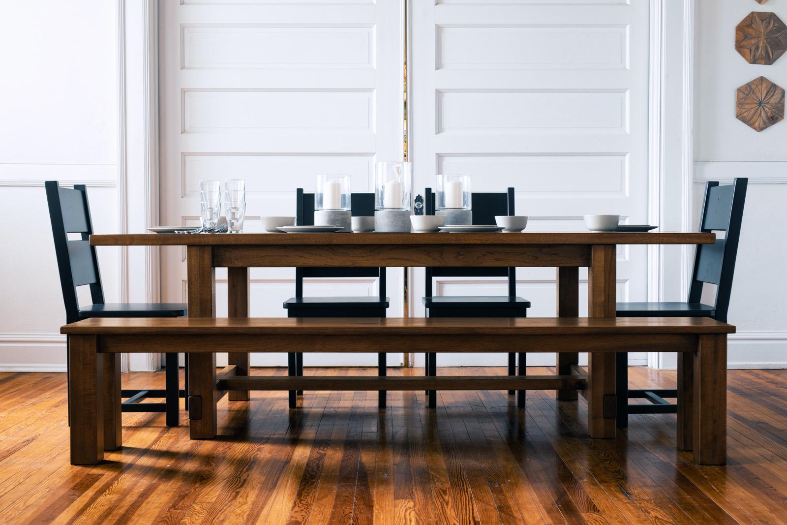 Farmhouse table and farm bench