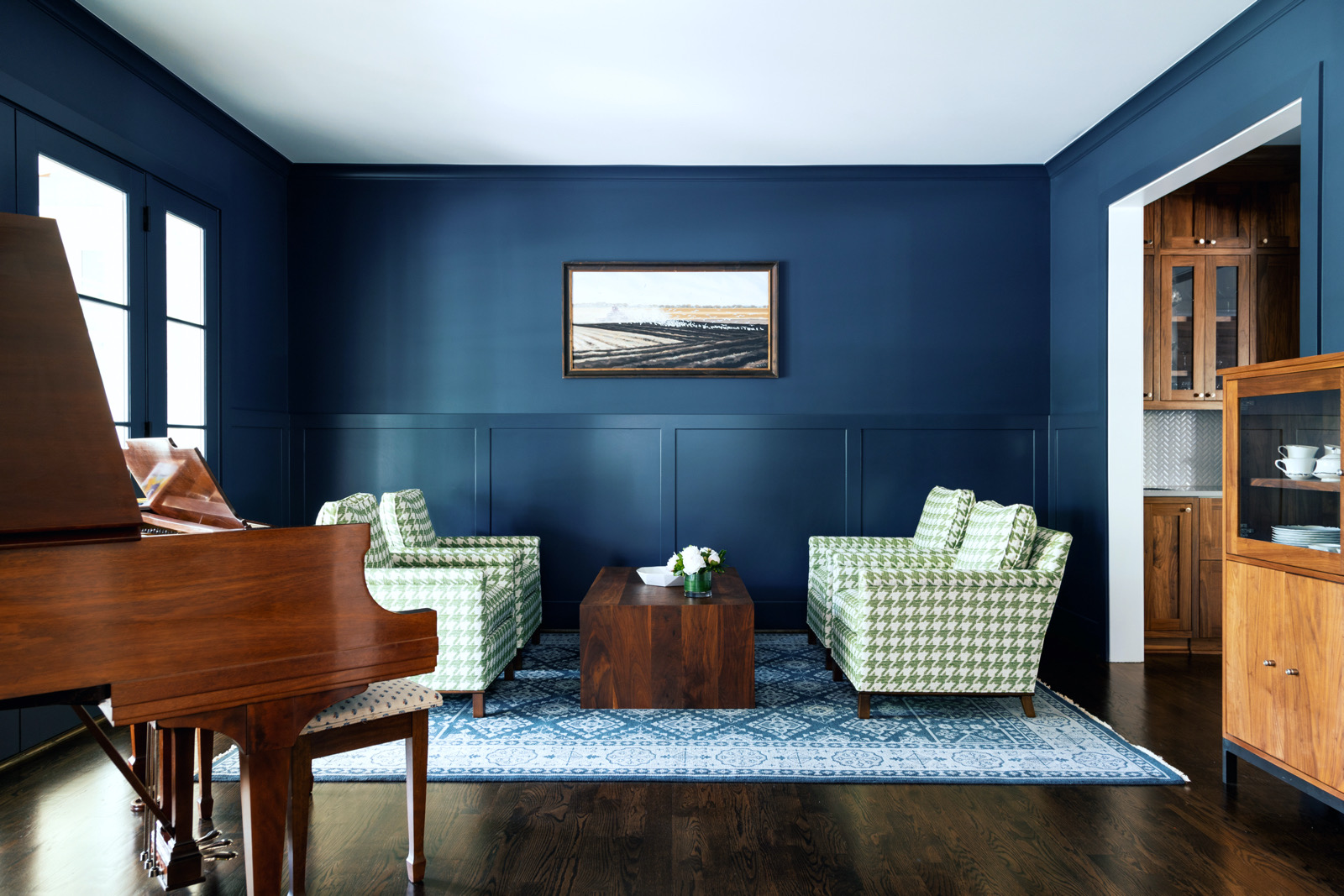 Blue and wood furniture color palette