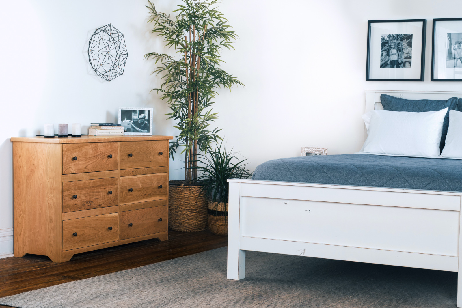 Two-toned beds and dressers